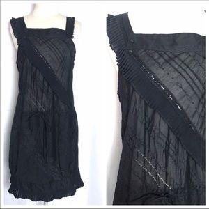 NWT BCBGMAXAZRIA Voile Cotton Dress Navy S